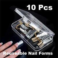 10PCS Nail Art Extension Guide Form Tool UV Gel Acrylic Nail DIY Tips Reusable