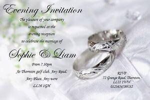 50 Personalised Wedding Day or Wedding Evening Invites ~Invitations Ref WDS