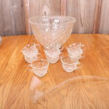 Vintage Punch Bowl & 8 Cups Palm Pattern Clear Glass & Plastic Ladle