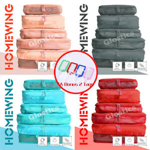 5Pcs Packing Cubes Cube Travel Pouches Luggage Organiser Suitcase Storage Bags