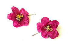 2x Hot Pink Wildflower Flower Hair Grips Clips Bridesmaid Bobby Pins Slides 2105