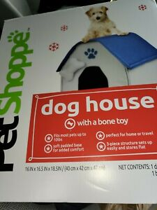 Pet Shoppe Soft Padded Dog House • For Home or Travel • Fits Most Up to 10 lbs