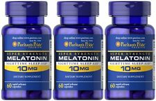 Puritan's Pride Melatonin 10 mg Night Time Sleep Aid 180 Capsules 3 x 60 caps