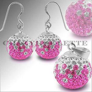 925 Silber Set Ohrringe Rosa Weiss Sexy Ohrstecker Zirkonia Kette