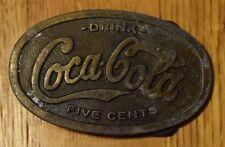 Vintage Distressed Drink Coca-Cola Metal Belt Buckle Oval Coke Soda Cola