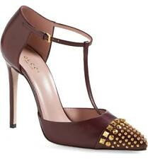 0449d0ecc $750 Gucci Coline Studded T-Strap Pump Burgundy Leather Mary Jane 39 Shoe