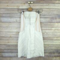 COINCIDENCE & CHANCE Women's Lined Linen Blend Strapless Pockets Dress S Small