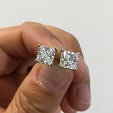 6 ct. Princess Brilliant Cut Man Made Diamond Stud Earrings 14K SOLID GOLD