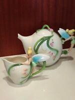 Disney China Spring Meadow Tinkerbell Tea Pot & Creamer (Excellent Condition)