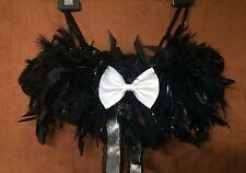Black Bra Feathers Boa White Bow Ribbon Lace 30 A B Silver Rave Burlesque