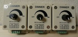 LED Light Switch Dimmer Controller DC12-24v 8A  - SHIPS FROM USA - Lot of 3