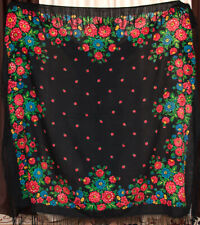 Vintage Russian shawl. Black Mantón chale floral wool. Babushka Authentic Scarf