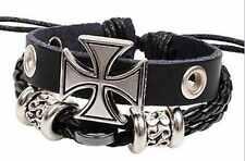Universal Black Leather Biker Iron Cross Cuff Bracelet Fashion Jewellery Rock