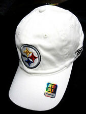 Pittsburgh Steelers NFL Reebok White w/ Logo Slouch Hat Cap Flex Fit Fitted