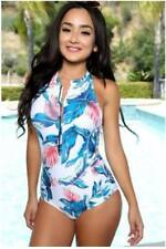 Racer Back One Piece Swimsuit Bikini In Blue/Green Medium
