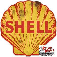 """12/""""x 9/"""" EARLY SHELL GASOLINE WINDSHIELD SERVICE DECAL GAS OIL STICKER shell #10"""