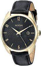 Nixon Women's Bullet Japanese Quartz Leather Band Watch - Black/Gold