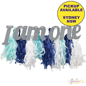 1ST FIRST BIRTHDAY PARTY SUPPLIES BLUE HIGH CHAIR I AM ONE DECORATION KIT BANNER