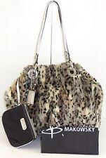 Makowsky Large Faux Fur Cheetah Handbag Silver Hardware and Leather Fob Wristlet