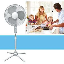 Oscillating Pedestal Stand Fan Quiet Adjustable 16-Inch 3 Speed, White