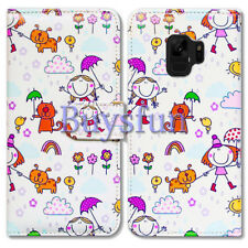 Bcov Cartoon Girl Cat Dog Wallet Leather Cover Case For Samsung Galaxy S9+/Plus