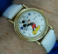 LORUS DISNEY MICKEY MOUSE V501 X038 WHITE BAND GOLD TONE WATCH, NEW BATT A40