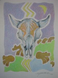 "Whitney Southwick ""Life Force"" Original Buffalo Skull Bear Paw Claw Lightning"