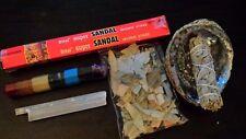 "5"" Abalone Shell w Eucalyptus, Palo Santo, and Sandal Wood Incense Smudge Set"