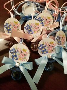 Baby Stitch and Angel, Gender Reveal Guest Favors Pacifiers, boy and girl