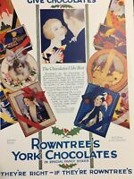 Vintage 1925 Christmas Chocolate Gift Color Print Ad Rowntree's Fancy Boxes ++