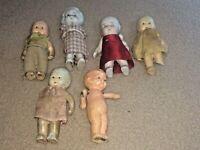 "Vintage Lot of  6 Bisque Porcelain 3"" Dolls Figurines JAPAN Various Condition"