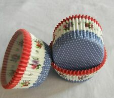 100 white dot blue bottom red floral  cupcake liners baking paper cup 50x33mm