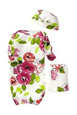 New Mad Sky Lizzy Floral Bunting Gown + Hat 0-3 Months Shower Gift NO BURP CLOTH
