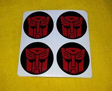 Rueda de la aleación Calcomanías 4 X 70mm Transformers Autobots Roja Logo Centro insignia Cap