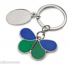 Portachiavi farfalla blu verde personalizzabile