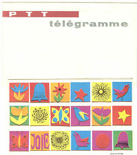 TELEGRAMME FRANCE NEUF AVEC ENVELOPPE THEMES PAPILLONS CLOCHES ECT.. ANNEES 1960