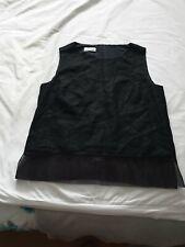 Ladies Gerry Weber 100% Linen Black Sleeveless Smart Top Lined Crocheted Size 10