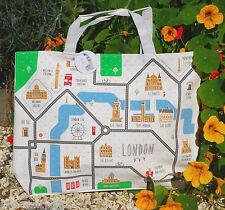 Damas Grande Lona Compras Bolso Bolso de mano Londres Mapa Reutilizable De Algodón Con Cremallera