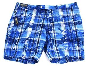 Polo Golf Ralph Lauren Links Fit Blue Plaid & Floral Golf Shorts Men's 42 NWT