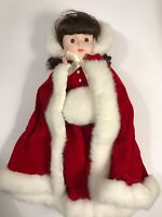 Anco Porcelain Doll Red Dress Winter Christmas With Stand 16 Inches