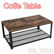 2-Tier Wooden Coffee Table Retro Industrial Style Side Desk Living Room Shelf