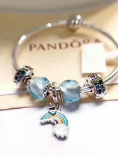 STERLING SILVER BRACELET WITH Beads & CHARM Blue Sky * Rainbow Romance - pandora
