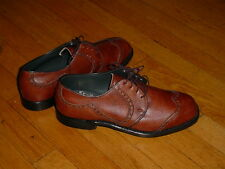 Vintage Haig Dunn Brown Leather Wingtip Golf Shoes Pro-Line Steel-Cleats 8-EE