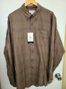 1 NWT CUTTER & BUCK MEN'S SHIRT, SIZE: X-LARGE, COLOR: BROWN/BLUE/YELLOW (J65)