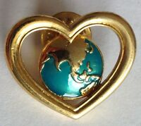 AVON World Heart Pin Brooch Lapel Badge Quality Authentic Vintage Rare (D10)