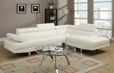 Modern Leather Sectional Sofa Chaise Couch Set Soft Living Room Furniture White