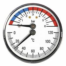 63mm 6BAR 120C Thermo Pressure Gauge 1/2 inch Rear Entry Manometer