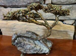 Richard Bell Brutalist Bonsai Tree Sculpture Bronze and Jade on Granite *Signed