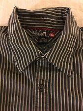 Quiksilver Mens Medium Button Down Collared Stripe Shirt Navy Cotton