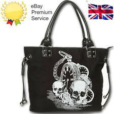 Neues AngebotSchwarz Gothic Skull Watch Back in Black Rockabilly Handtasche Tasche Banned Apparel